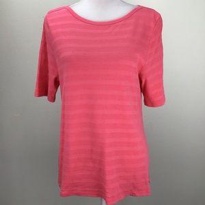 Charter Club Women Short Sleeve Shirt Top Coral XL